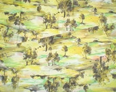 SALE Vintage late 1950s 1960s Landscape Pastoral Sunset Meadow Tree novelty Fabric