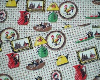 Vintage 1950s 60s Dutch Kitchen Chicken Bird Tea Pots Cotton Fabric Yardage