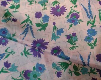 SALE Vintage 1960's Purple Blue Flower Botanical Print Rayon Taffeta Fabric Yardage