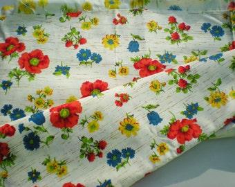 SALE Vintage Fabric 1970s BRIGHT Floral Print V.I.P Fabric Inc.