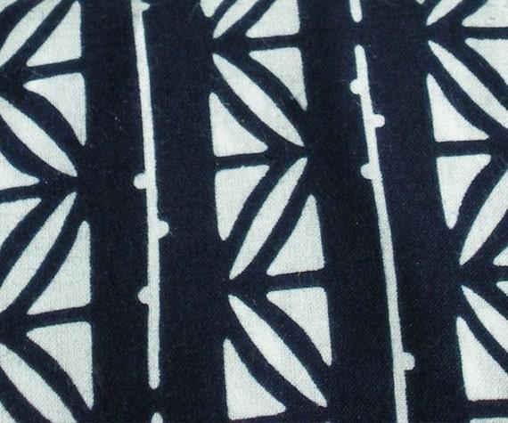 RESERVED for Jamirachelle325 Vintage Japanese Cotton Indigo Hand dyed Narrow Yukata Bamboo Floral fabric Kimono Obi Geometric