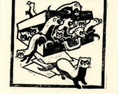 A Business of Weasels - block print