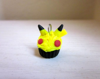 Polymer Clay Pikachu Pokemon Cupcake Charm
