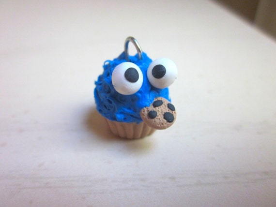 Polymer Clay Cookie Monster Cupcake Charm