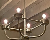 C A R D I N A L - Handcrafted Galvanized Metal Conduit 4-Light Chandelier