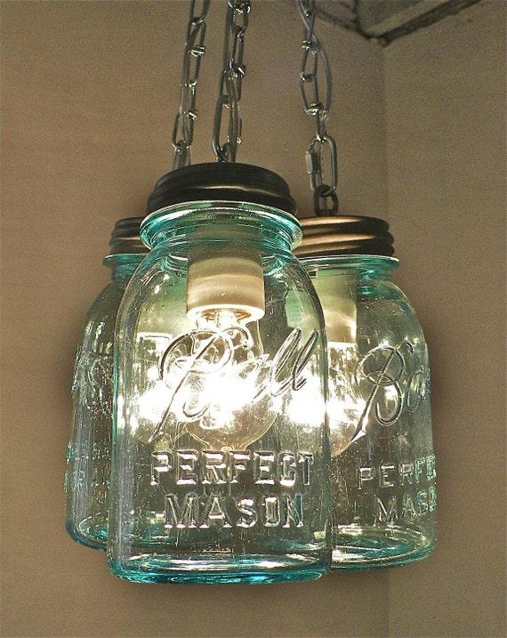 Handcrafted Blue Green Vintage Mason Three Jar Pendant Light