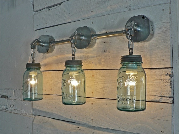 Ball Jar Vanity Lights : Handcrafted Blue Green Vintage Ball Mason Three Jar Sconce