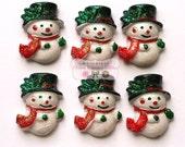 Snowman Glitter - Cabochons - Christmas- Hair piece center - Set of 6