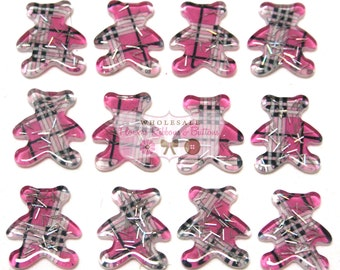 Pink Plaid Teddy Bear Embellishments - Pink Plaid - Wholesale Cabochons- Pink Teddy Bears - Set of 12