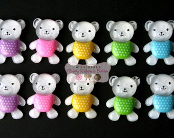 "Teddy Bear  1 1/2"" Cabochons - Teddy Bear Cupcake Toppers - Baby Shower Headband Station - Set of 10"