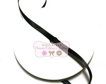 "Black Double Face Satin Ribbon 1/4"" - 25 yards - Wholesale Satin Ribbon - Ribbon to cover Headbands"