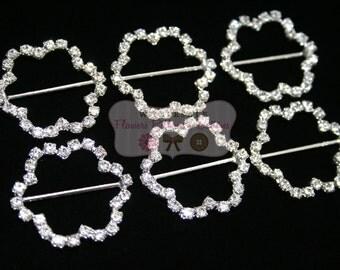 Flower Rhinestone Ribbon Slides - Rhinestone Buckles - Wholesale Headband Supplies - Rhinestone Embellishments - DIY Fit Bit Cover