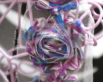 "Wholesale Shabby Trim - 2"" Blue Pink Purple Striped Shabby Chic Rose Trim - Shabby Chiffon Rose Trim - Headband Flowers"