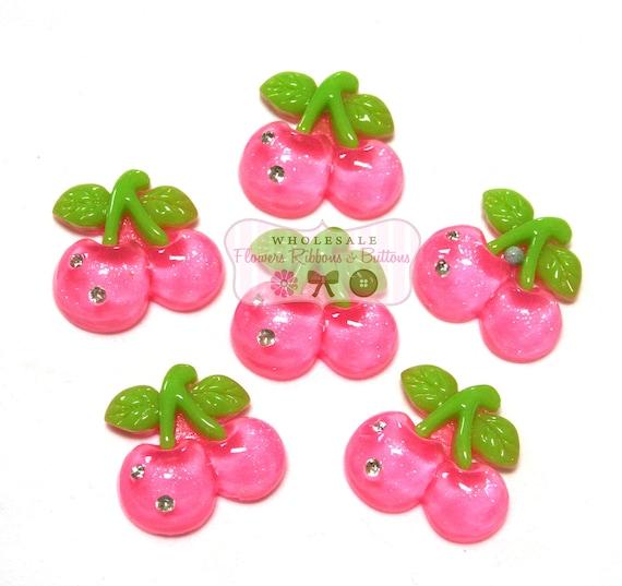6 Pink Cherry Cabs with Rhinestones - LAST 1