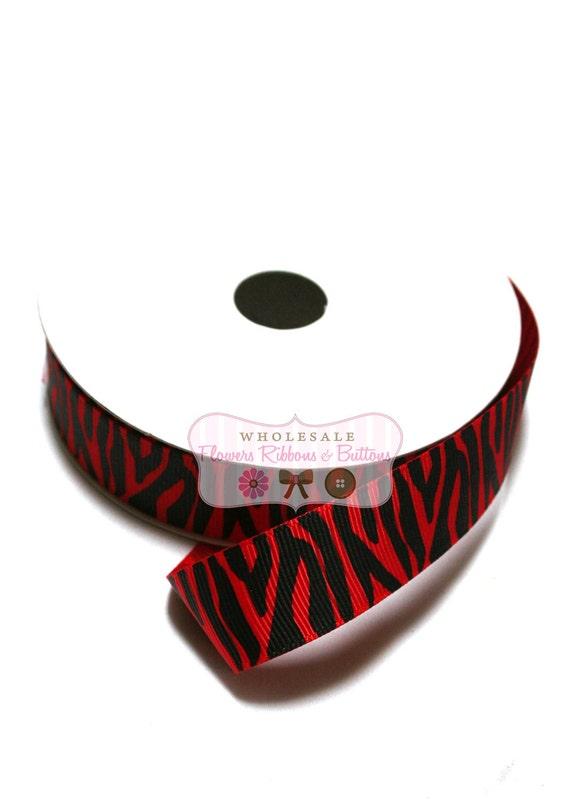 25 yards of  7/8 inch Red and Black Zebra Print Grosgrain Ribbon