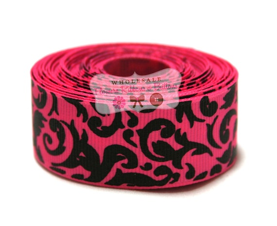 10 yards 7/8 inch Pink and Black Damask Ribbon