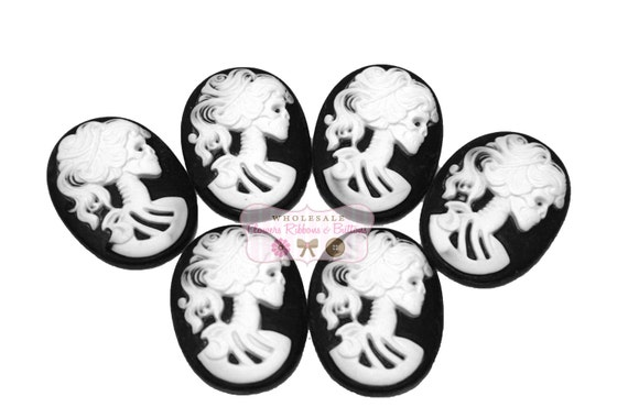 30 X 40 Black & White Skeleton Cameo Cabochons - LAST 2