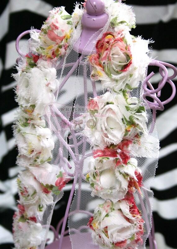 1 Yard  Floral Print Shabby Chic Rose Trim - LAST 3