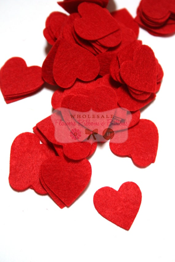100 You pick one color 1 inch felt hearts