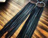 Leather Fringe Long Earrings - Black Leather and Silver Hoops