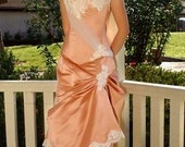 Bridal Gown Edwardian Wedding Dress Victorian Gown in pink coral rose silk satin and lace