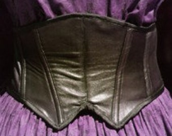 Steampunk Corset Victorian Waist Cincher in black leather Goth Glam