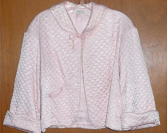 Vintage Mid Century Mad Men 1950's Quilted Peach Satin Bed Jacket