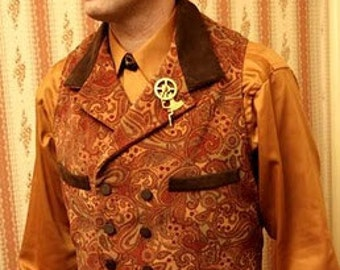 Steampunk Vest English Regency Waistcoat Victorian Wedding Vest in Copper and Rust Velveteen