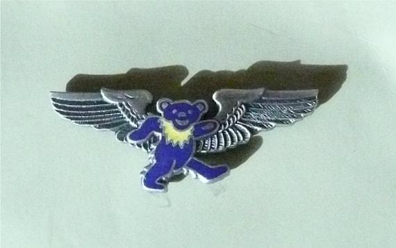 Grateful Dead Dancing Bear Blue Airplane Wing Pin