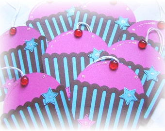 Cupcake - Cherry on Top - Shaped Tags (4)
