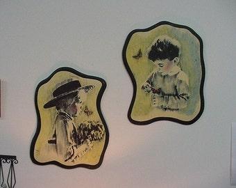 Children with butterflies 70s print