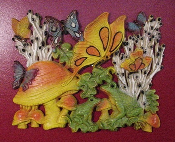 Butterflies, Mushrooms and Frogs, oh my, Wall Hanging