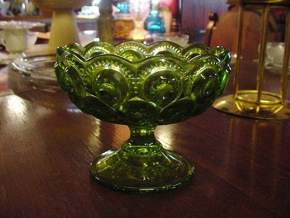 Reserved for Donna -Moon and Stars Green Glass Compote