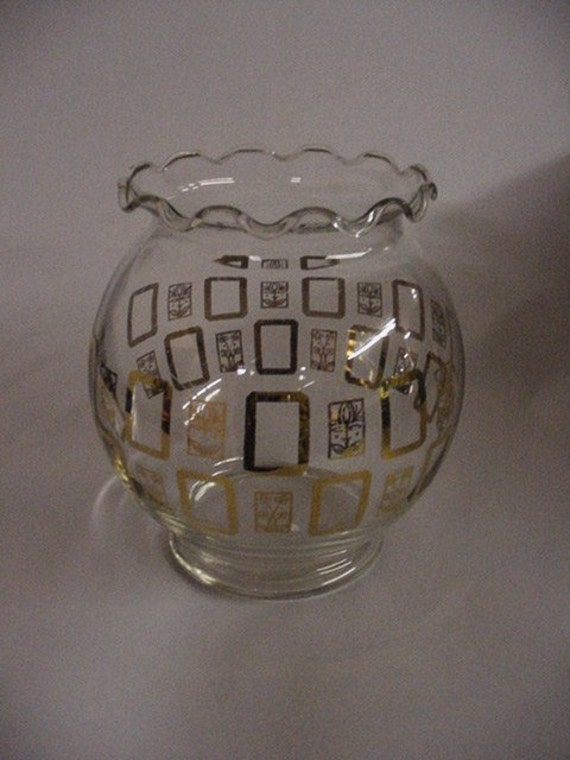 Clear Rose Bowl or Vase with gold accents and scalloped edge