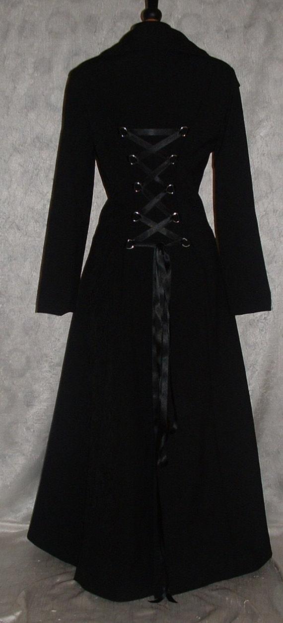 Long Coat Black Fit N Flare Full Length Gothic Steampunk