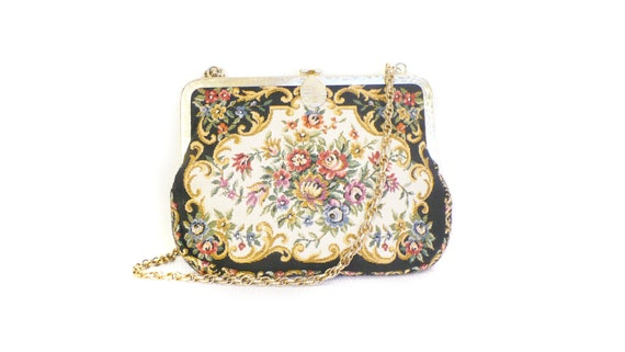 Vintage Floral Embroidered Tapestry Bag Purse Hand Made with Black Interior and Linked Gold Chain Strap