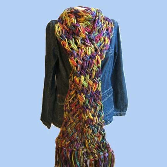 Stunning Flame Stitch Scarf with Cowl Neck Variation.  Pattern sent as PDF.  Buy one pattern choose another single pattern free.