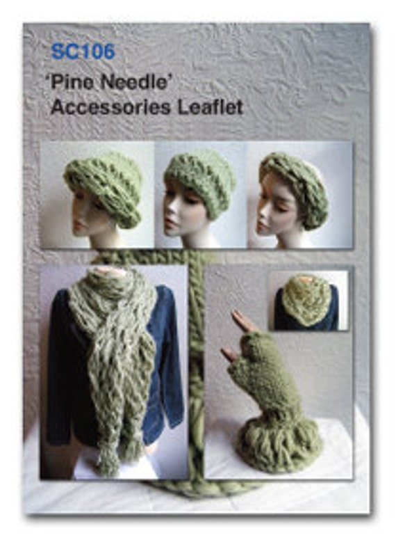 Pine Needle Accessories PDF knitting Pattern.  See Free Pattern Promotion in Description.