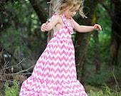Pink Chevron maxi length dress sizes 2 to 6