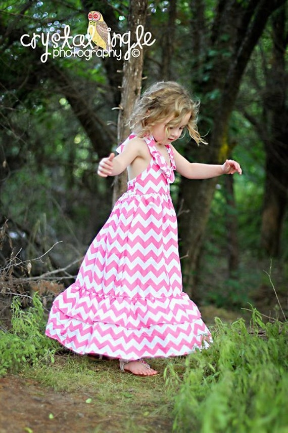 Pink Chevron maxi length dress sizes 2 to 6