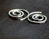 Hoop Earrings Spiral Earrings Gauge African Style Tribal Earrings Sterling Silver