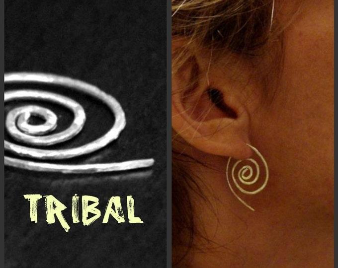 Hoops, Earrings, Spiral Earrings, Gauge Style, African Style Jewelry, Ethnic, Tribal, Sterling Silver, Coils, Handmade, Gift Idea