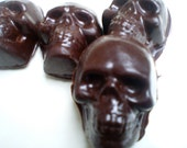 Chocolate Skulls with Mushy Ganache Brains, Plain or Spicy Ganache, One Dozen (12)