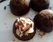 Sexy and I know it, with Nuts, Dozen (12) Dark Chocolate Truffles with Spicy Ganache, Topped w/Almonds and Cinnamon Dust