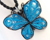 Blue Butterfly Resin Pendant - Handcrafted by Paper Quilling Eco Friendly Artisan Jewelry