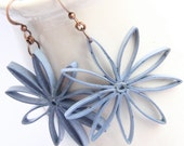 Save 30% Big Flower Earrings Denim Blue Nine Pointed Stars Paper Quilled Eco Friendly Jewelry Artisan Jewelry hypoallergenic