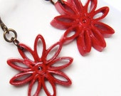 Red Nine Pointed Star Niobium Earring Paper Quilling Eco Friendly Earrings, Artisan Jewelry hypoallergenic