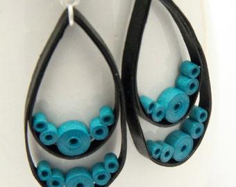 CIJ 30% off SALE Big Black Teardrop Earrings with Turquoise circles Niobium Eco Friendly Artisan Jewelry hypoallergenic