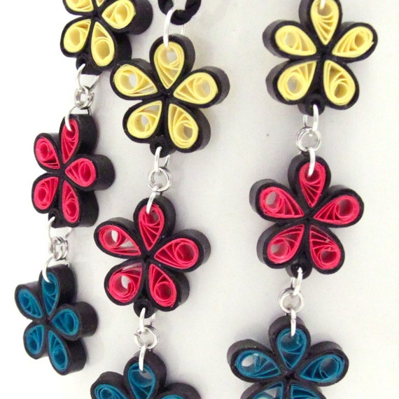 50% OFF Flower Chain Earring and Necklace Set - Paper Quilled CLEARANCE