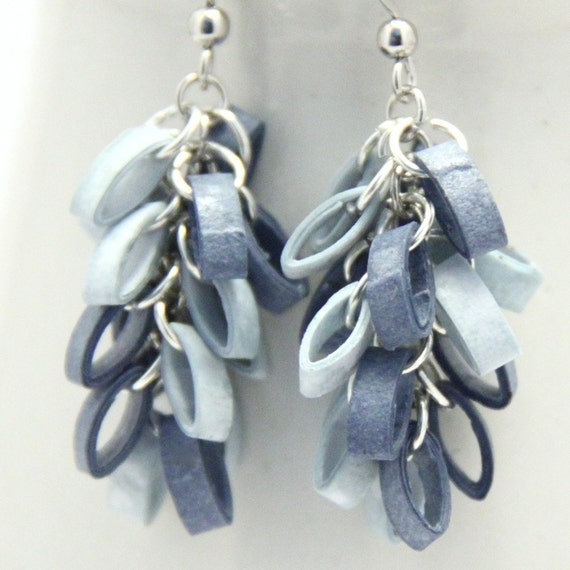 Blue Cluster Earrings Fall Fashion Cloudy Day Paper Quilled